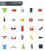 Постер, плакат: Vector Flat Clothes Icons Set