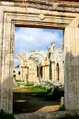 pic of euphrat  - ruins of ancient simeonis abbey in syria - JPG