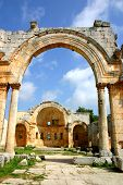 foto of euphrat  - ruins of historic simonis abbey in syria - JPG