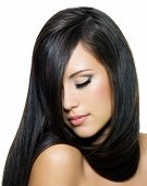 Woman With Beautiful Long Brown Hairs poster