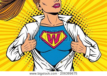 poster of Pop art female superhero. Young sexy woman dressed in white jacket shows superhero t-shirt with W sign means Woman on the chest flies smiling. Vector illustration in retro pop art comic style.