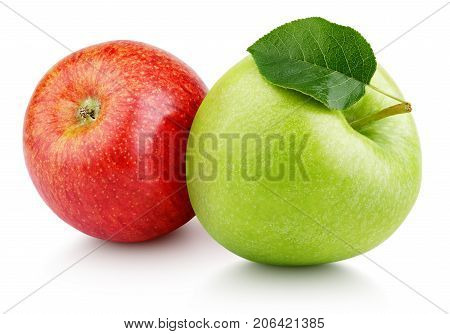 Pair of ripe red and green apple fruits with apple leaf isolated on white background. Apples with clipping path poster