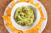 guacamole with tortilla chip poster