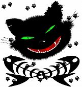 picture of grotesque  - on an abstract background of a grotesque face big black cat and two crossed fish skeleton - JPG