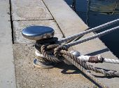 Chrome capstan with white ropes