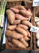 pic of solanum tuberosum  - Red sweet potatoes pouring in a woven basket - JPG