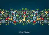 Christmas Pattern With Golden, Red, Green, White  Tree Decoration. poster