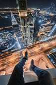 Male legs of rooftop of Millennium Plaza Hotel Dubai on Sheikh Zaid Highway, Tower, Al Yaqoub Tower, poster