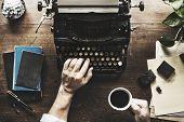 Hand Typing Retro Typewriter Machine Work Writer poster