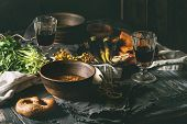 Table Setting With Soup Bowls poster