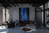 A contemporary, industrial polished concrete living room interior with leather lounges and modern ar poster