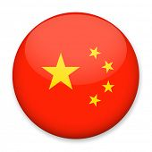 Flag of China in the form of a round button with a light glare and a shadow. The symbol of Independe poster