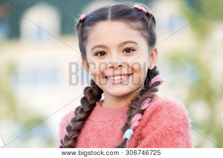 poster of Beauty Is The Smile Of A Child. Beauty Look Of Adorable Small Girl Outdoor. Little Child With Cute S