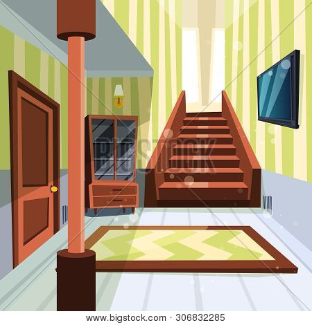 poster of House Interior. Apartment Light Room Hallway With Staircase And Storage Room Vector Cartoon Illustra