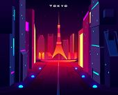 Tokyo City Night Skyline With Skytree Television Tower View In Neon Illumination. Metropolis Archite poster