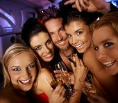 picture of hen party  - Young attractive people having party fun - JPG
