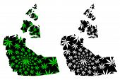 Northwest Territories (provinces And Territories Of Canada) Map Is Designed Cannabis Leaf Green And  poster