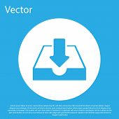 Blue Download Inbox Icon Isolated On Blue Background. White Circle Button. Flat Design. Vector Illus poster