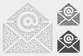 Mesh Email Model With Triangle Mosaic Icon. Wire Carcass Polygonal Mesh Of Email. Vector Composition poster