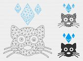 Mesh Ethereum Crypto Kitty Model With Triangle Mosaic Icon. Wire Frame Polygonal Network Of Ethereum poster