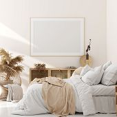 Mock Up Frame In Bedroom Interior, Beige Room With Natural Wooden Furniture, Scandinavian Style, 3d  poster