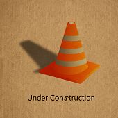 Under Construction Sign On Grunge Recycled Paper Board