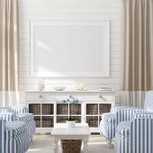 Mock Up Frame In Home Interior Background, Coastal Style Living Room With Marine Decor, 3d Illustrat poster