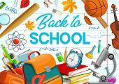 Back To School, Education Supplies And Student Classes Items On Copybook Background. Vector Back To  poster