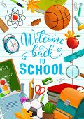Back To School, Education Supplies, Pencils And Classes Notebooks. Vector Welcome Back To School Cal poster