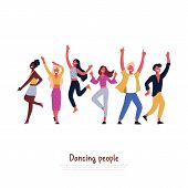 Party Dancers, Smiling People Dancing, Having Fun, Celebrating Special Event With Energetic Movement poster