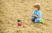 Child Having Fun With Little Shovel And Plant In Pot. Planting In Field. Little Helper In Garden. Bo poster