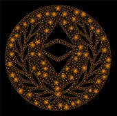 Bright Mesh Ethereum Classic Laurel Coin With Glow Effect. Abstract Illuminated Model Of Ethereum Cl poster