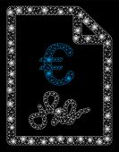 Bright Mesh Euro Invoice With Glow Effect. Abstract Illuminated Model Of Euro Invoice Icon. Shiny Wi poster