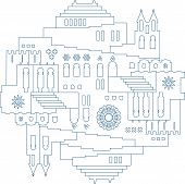 Symmetric Oriental City Illustration In Line Style. poster