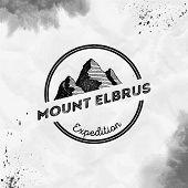 Elbrus Logo. Round Expedition Black Vector Insignia. Elbrus In Caucasus, Russia Outdoor Adventure Il poster