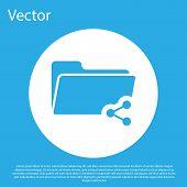 Blue Share Folder Icon Isolated On Blue Background. Folder Sharing. Folder Transfer Sign. White Circ poster