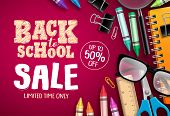 Back To School Sale Banner Vector Design In Red Background With School Supplies And Education Elemen poster