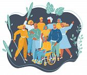 Vector Cartoon Illustration Of Disabled People Get Together. Disabled And Handicapped Characters, Vo poster