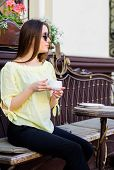 Caffeine Dose. Coffee For Energetic Successful Day. Breakfast Time In Cafe. Girl Enjoy Morning Coffe poster