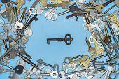 Keys Set With Antique Key In Middle, Blue Background. Door Lock Keys And Safes For Property Security poster