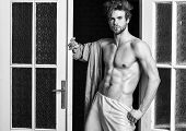 Man Athlete With Fit Sexy Torso. Sexy Lover Concept. Sexy Attractive Macho Tousled Hair Coming Out T poster