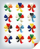 pic of courtier  - Set of international multicolored bows flag colors - JPG