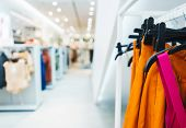Modern Show Room Selling Clothes Men, Women And Children. Hangers Bright Fashionable Clothes. T-shir poster