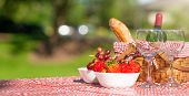 Picnic. Bottle Of Wine With Glasses. Strawberry.romance. Rest And Sunny Mood poster