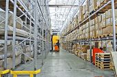 Large Modern Empty Warehouse, Industrial Interior With Forklifts. Rows Of Shelves With Pallets, Boxe poster