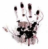 Bloody hand-print painted isolated