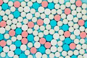 Opioid Painkillers Crisis And Drug Abuse Concept. Different Kinds Of Multicolored Pills. Pharmaceuti poster