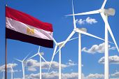 Egypt Alternative Energy, Wind Energy Industrial Concept With Windmills And Flag - Alternative Renew poster