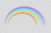 Colored Transparent Rainbow. Vector Illustration. Symbol Of Good Luck And Right Path. Colorful Weath poster