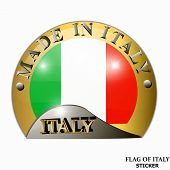 Made In Italy Sticker. Bright Sticker Sale With Italian Flag. Happy Italy Day Button. Sticker With F poster